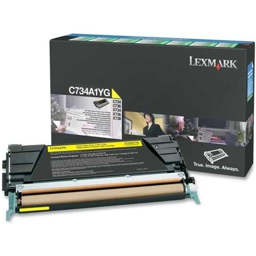 LEXMARK C734A1YG C734/736 X734/736/738 SARI TONER ORJ 6.000 SAYFA